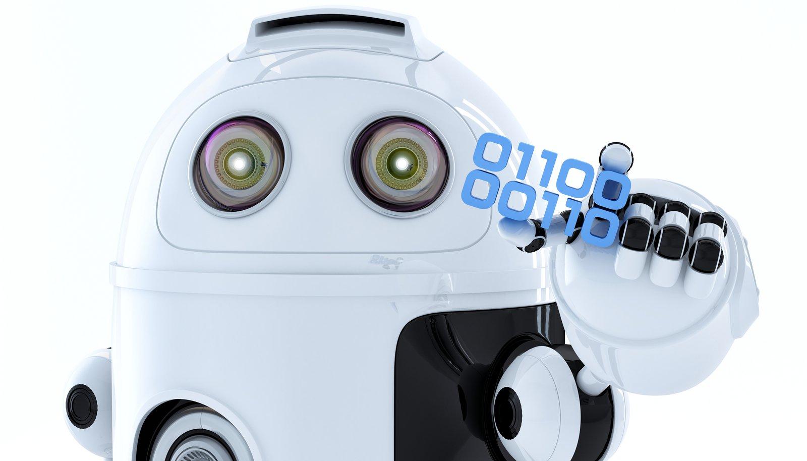 Robô Android segurando um pedaço de código binário