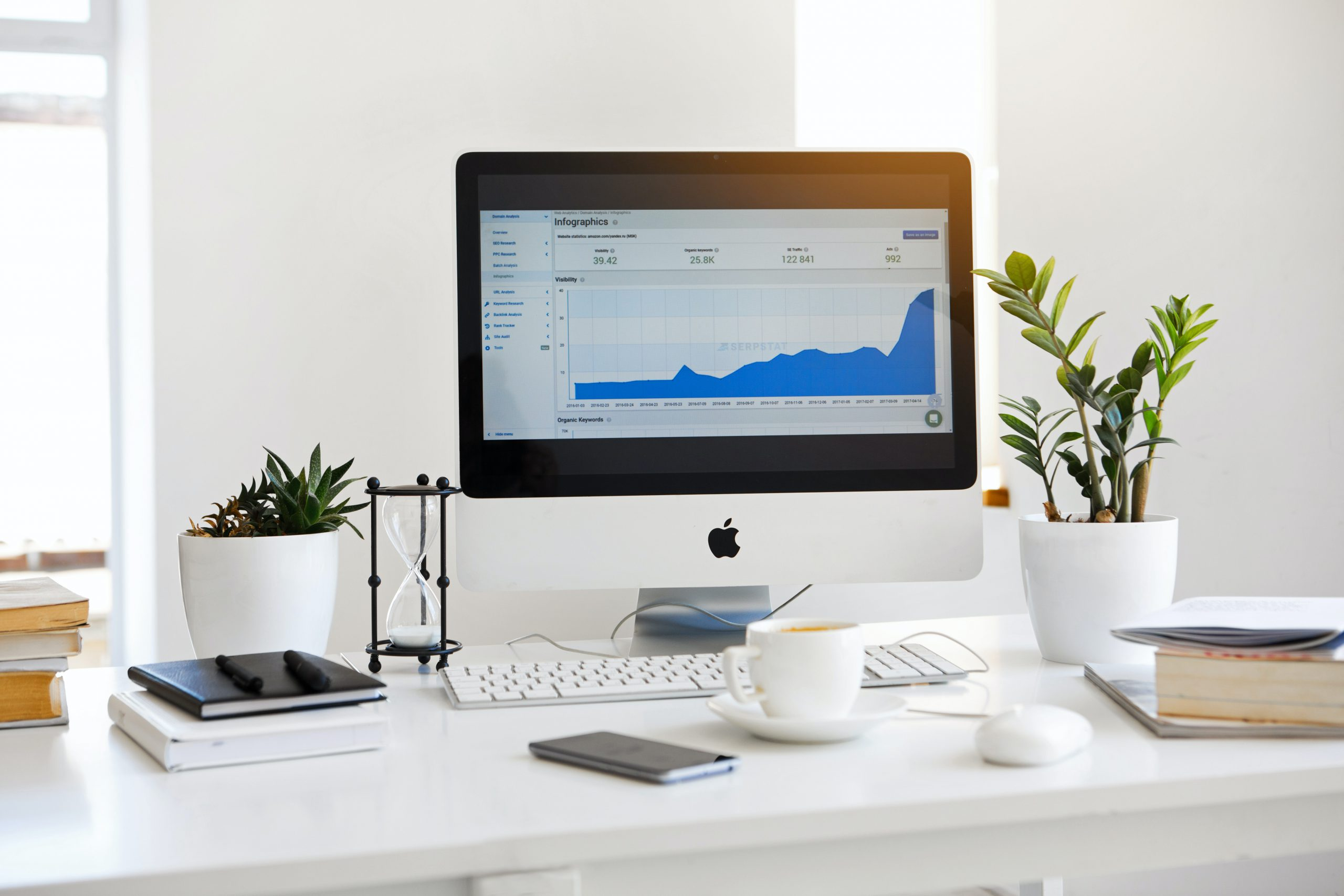 Monitor mostrando o Analytics de uma empresa